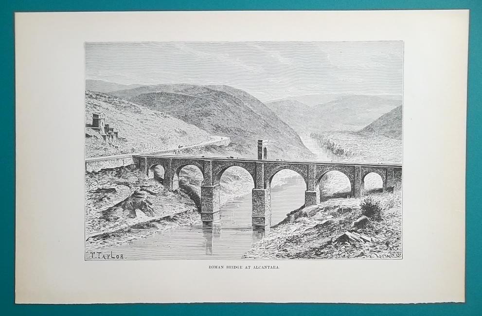 SPAIN Alcantara Roman Bridge over Tajo River  - 1890s Antique Print Engraving