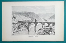 SPAIN Alcantara Roman Bridge over Tajo River  - 1890s Antique Print Engr... - $14.40