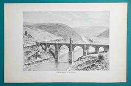 SPAIN Alcantara Roman Bridge over Tajo River  - 1890s Antique Print Engr... - $14.40