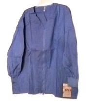 Scrub Jacket 4XL Ceil Blue Gold Coast Zip Front V Neck Loft Uniforms Wom... - $21.31
