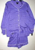 NWT New Designer Natori M Pajamas PJ's Shorts Long Sleeves Purple White ... - $123.50