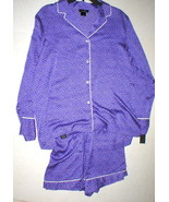 NWT New Designer Natori M Pajamas PJ's Shorts Long Sleeves Purple White ... - $123.50