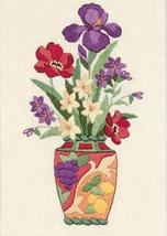 Dimensions Elegant Floral Mini Crewel Kit, 5x7in, iris flowers, vase, oriental - $16.99