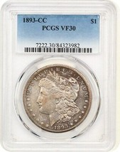 1893-CC $1 PCGS VF30 - Popular, Very Scarce Carson City Morgan - $940.90