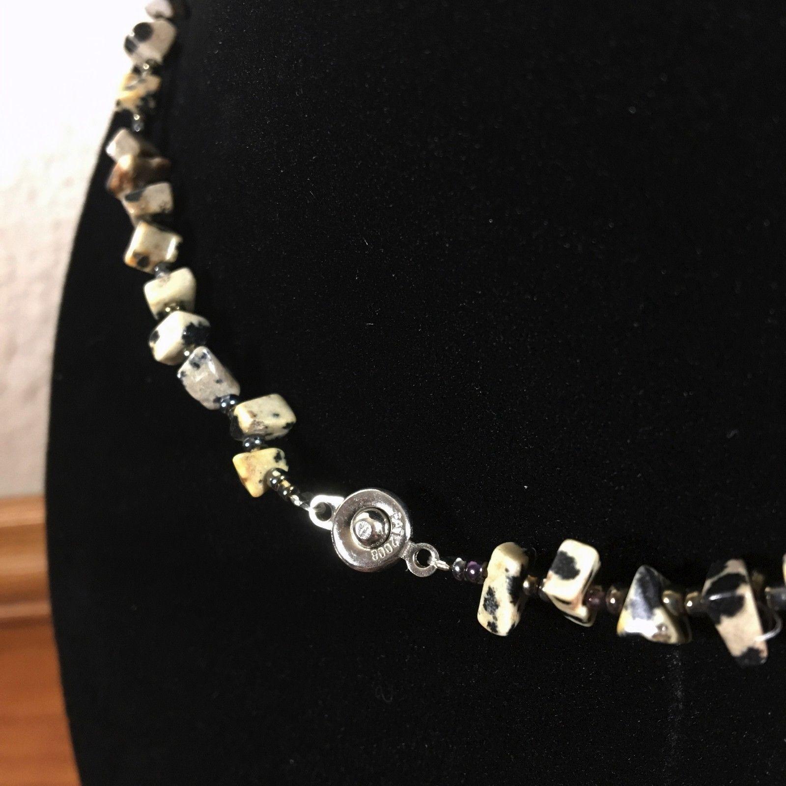"Dalmatian Jasper Black Speckled Gemstone Necklace 20"""