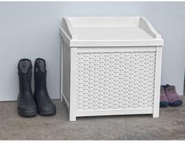 Suncast 22 Gallon White Resin Wicker Small Storage Seat Deck Box SSW1200W - $53.09