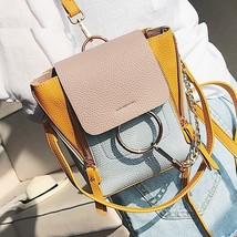 Luxury Women Backpack Small Contrast Color Yellow Fashion Vintage 2018 N... - €31,07 EUR