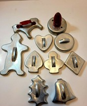 Lot of 10 Vtg 50s Cookie Cutters Red Depression Metal - $15.00