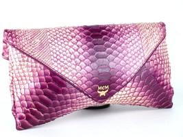 Authentic MCM Python Clutch Pink & Purple Leather Bi-fold Hand Bag Purse... - $296.01