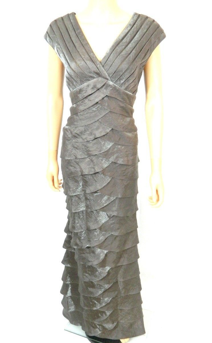 ADRIANNA PAPELL Womens Tiered FORMAL MAXI DRESS Sparkle Rayon Blend Brown 8 M