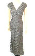 Adrianna Papell Womens Tiered Formal Maxi Dress Sparkle Rayon Blend Brown 8 M - $94.99