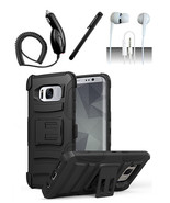 Samsung Galaxy S8 Black Hybrid Armor Dual Layer Case Cover w/ Kickstand ... - $11.99
