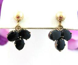 WRE W E Richards BLACK GLASS DANGLE EARRINGS Vintage Screw 1/20 K Gold F... - $12.99