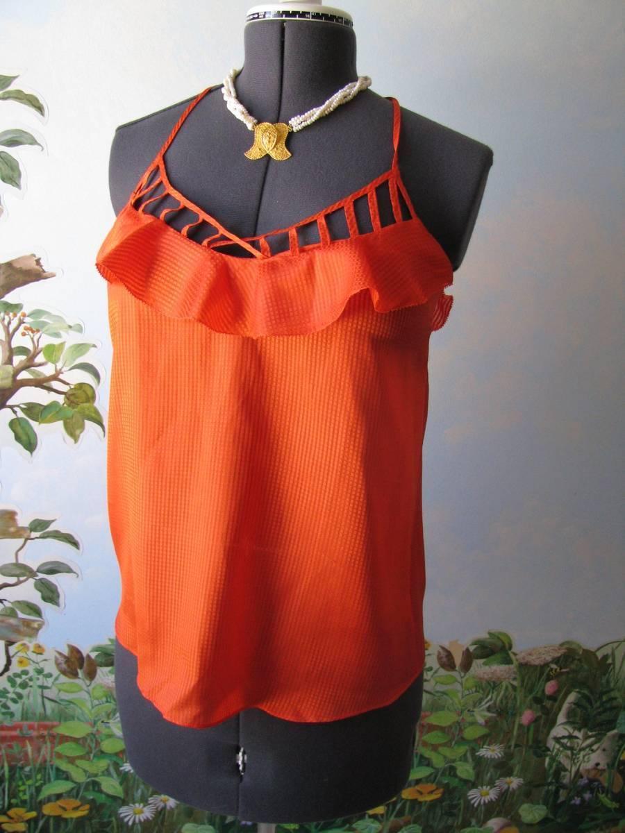 Rebecca Minkoff Orange Ruffle Alissa Cami Blouse Top Size 6 New  - $79.19