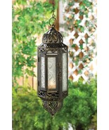 4 Black Victorian Hanging Cable Lantern w/ Pressed Glass Use Indoors or ... - $64.30