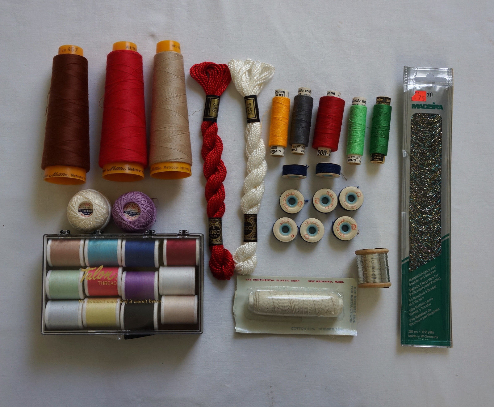 Lot Thread Talon Polyester Floss Mettler Metrosene Metallic Assorted