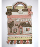 Vtg Hand Knit Dusty Pink Brown Tapestry Southwestern Wall Door Hanging A... - $19.79