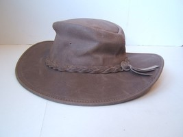 "Vintage Brown Fold Up Hat Cap Genuine Leather Minnetonka Small 21"" Used - $25.35"
