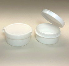 5 Cosmetic Jars Flip Top Hinged Lid White Plastic Beauty Containers 10 M... - $10.95