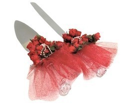 Cake Knife and Server Set for Sweet 16 or Quinceanera Red Dress Design - $39.99