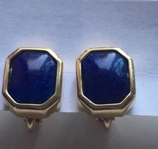 Christian Dior Clip Earrings Vintage Blue Stone Signed Small - $46.60