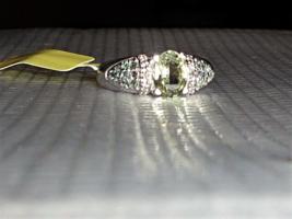 GREEN SILLIMANITE OVAL, BEKILY BLUE GARNET & DIAMOND RING, SIZE 8, 925, 1.68(TCW - $89.99