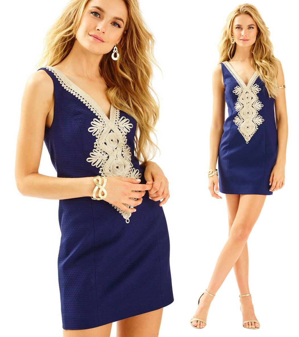 Primary image for $198 Lilly Pulitzer Junie True Navy Gold Detail Pique Shift Dress