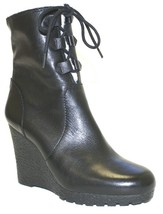 Women's Shoes Michael Kors Rory Bootie Wedge Ankle Boots Leather Black - £95.54 GBP