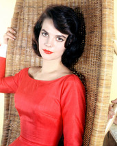 Natalie Wood in red dress seated in wicker chair 16x20 Canvas Giclee - $69.99