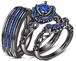 Free Gift !! Engagement Ring Trio Set Blue Sapphire Black Gold Plated 925 Silver - £81.70 GBP