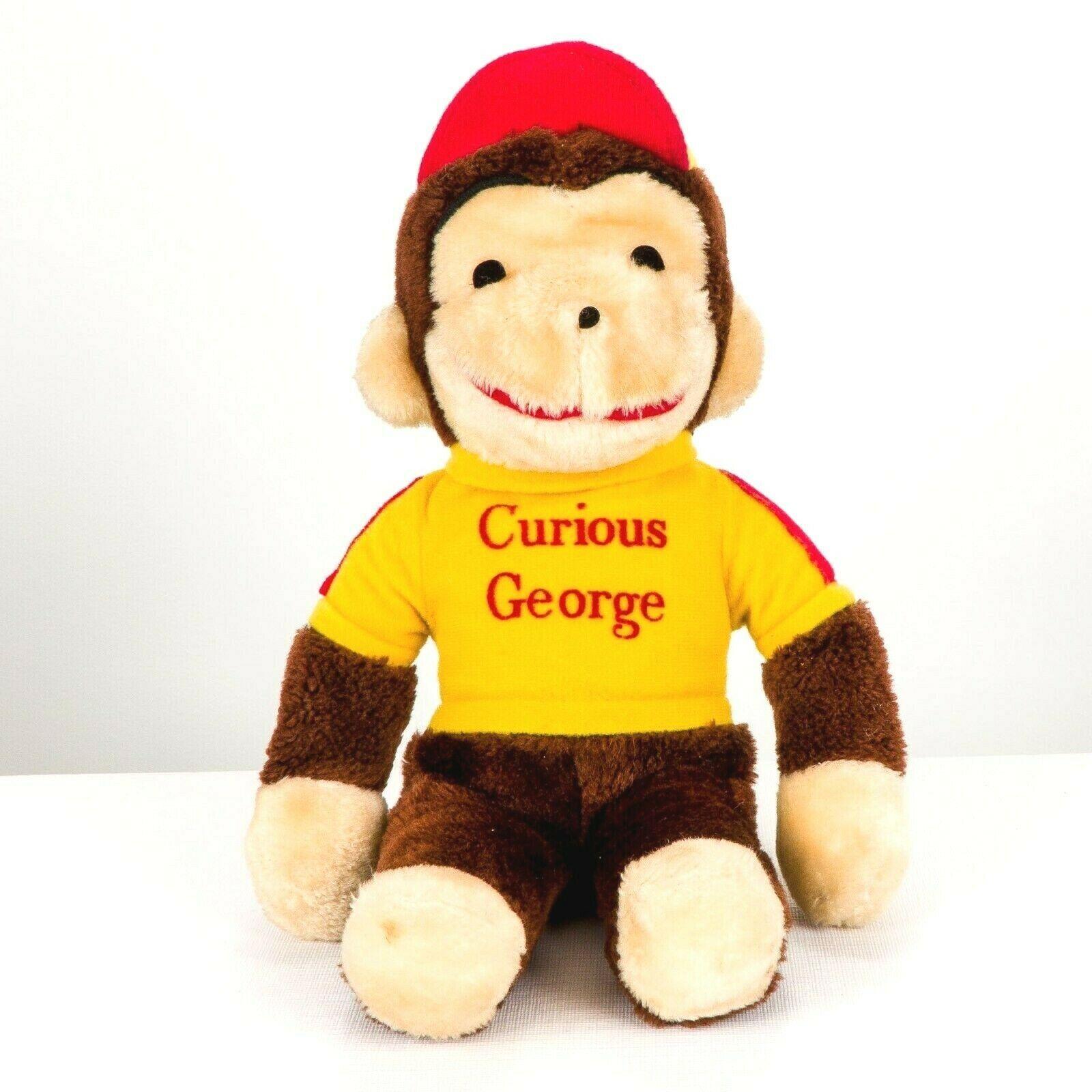"Knickerbocker Curious George VTG Plush 14"" Monkey Yellow Shirt Stuffed Animal - $19.66"