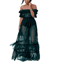 Women's Sexy Lace Off Shoulder High Wasit Flared Mesh Club Maxi Dress - $29.99