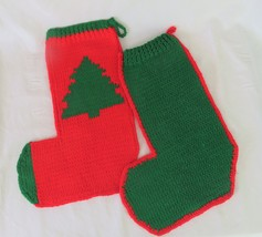 Christmas Stockings, Hand Knitted (two) Red & Green with a Tree - $15.00
