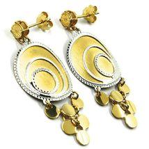 18K YELLOW WHITE GOLD PENDANT EARRINGS, SATIN FRAMED SPIRAL DISC, BUNCH, 4.5 cm image 3