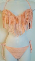 Candies Swim 2 Pcs Bikini Set Padded Fringe Top Bottom Coral Gold Swimsu... - $21.99