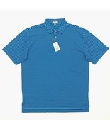 New Peter Millar Crown Sport Men's Polo Shirt Size XL Plaza Blue Striped... - $54.99