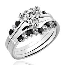 2.6CT Sterling Silver Heart Shape Black Cubic Zirconia 3 pcs Bridal Ring... - $34.99