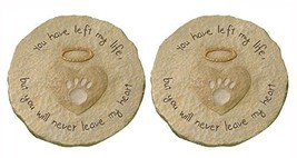 """Grasslands Road Beloved Set of 2 """"You will never leave my heart"""" Paw Print with"""