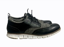 Cole Haan ZERØ GRAND Brogue Wingtip Oxford Shoes Leather Felt 9 Black Gray - $59.79