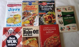 Lot of 7 VTG Cookbooks Better Homes Cutco Pillsbury Jiffy Betty Crocker ... - $23.55