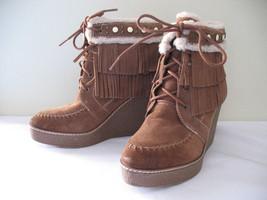 NEW! Sam Edelman Mocha Latte Suede Leather Fringe Studded Kemper Boots 1... - $108.00