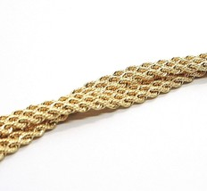 18K YELLOW GOLD BRACELET DOUBLE FLAT BRAID ROPE LINK, 7.50 INCHES, MADE IN ITALY image 2