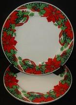 2 Holiday Dinner Plates Gibson Houseware Christmas Holly Ribbon Poinsett... - $34.64