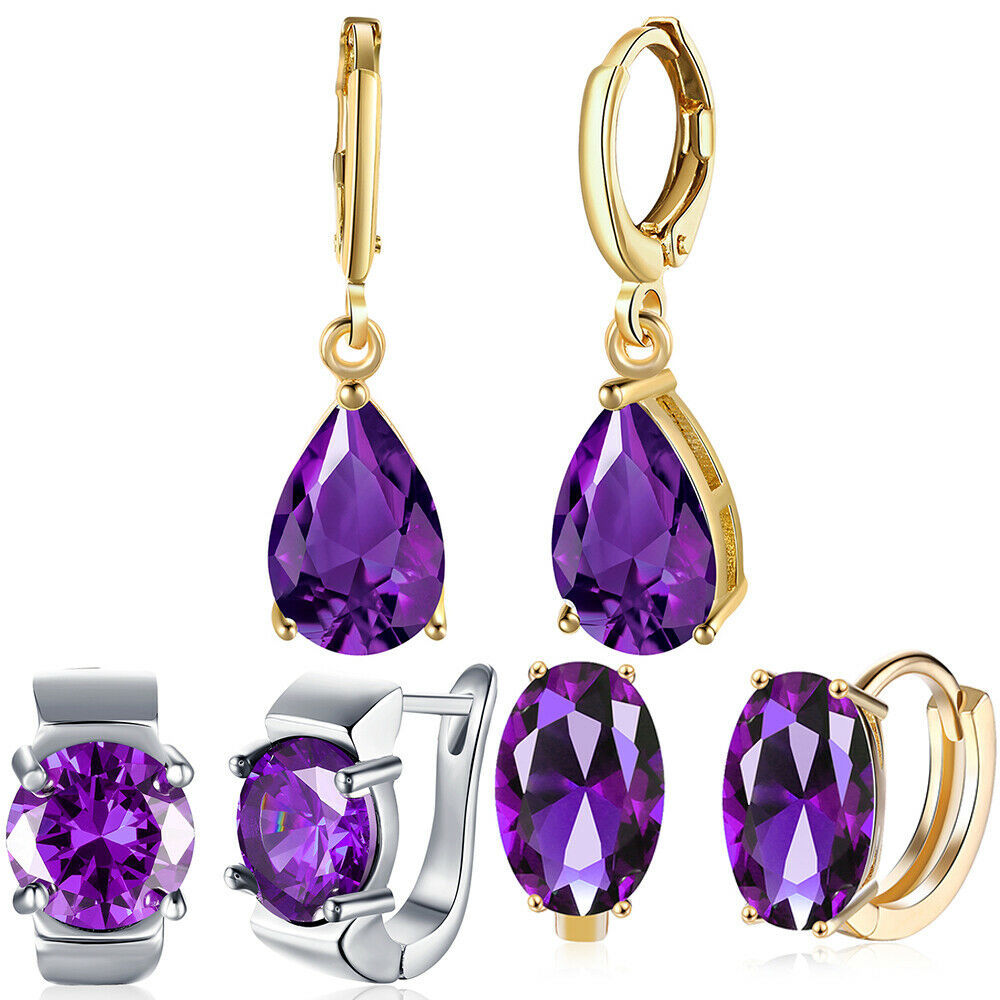 Primary image for Betsey Johnson Purple Floral  Crystal Large Drop Earrings $75