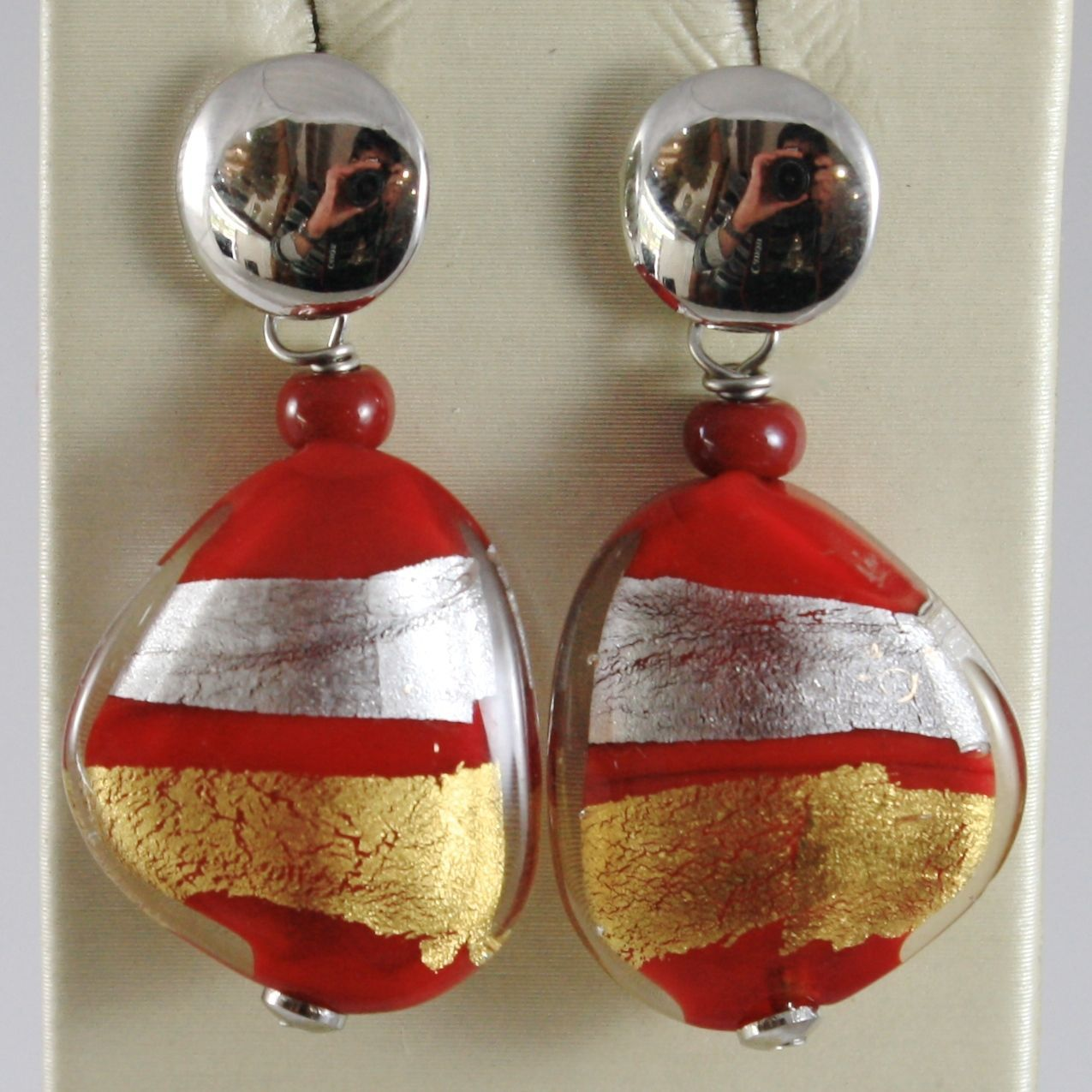 ANTICA MURRINA VENEZIA STRIPED PENDANT EARRINGS RED, SILVER AND GOLD FLAT DROPS