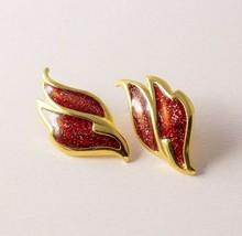 Vintage Feather Shape Wing Red Glitter Enamel Gold Tone Pierced Earrings... - $8.91