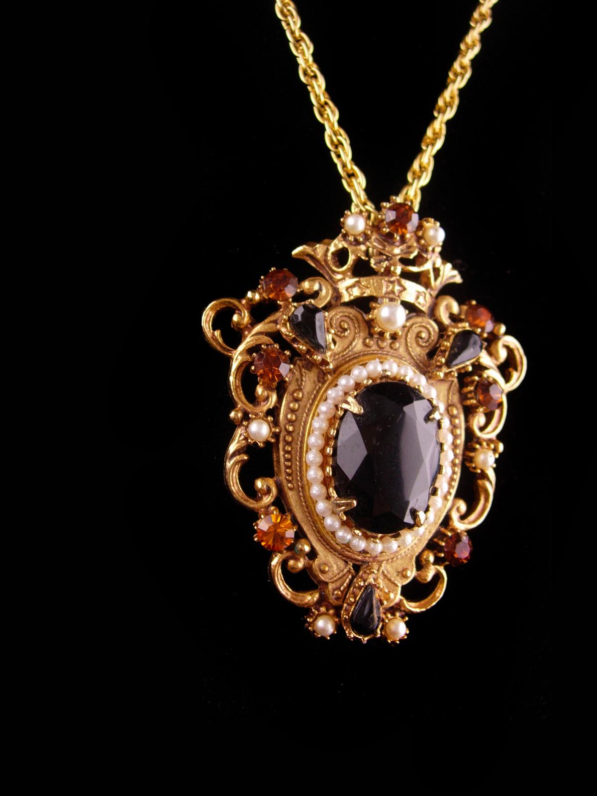 Victorian crown necklace - pearl and rhinestones crown - Vintage Florenza Crest