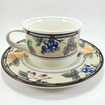 Mikasa Intaglio Garden Harvest Flat Cup Saucer 8 oz Stoneware Coffee Tea... - $7.92