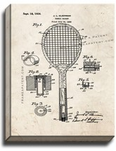Tennis Racket Patent Print Old Look on Canvas - $39.95+