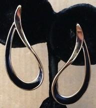 Vintage Gold Black Enamel Swirled Loop Hoop Post Back Dangle Earrings-Av... - $29.69